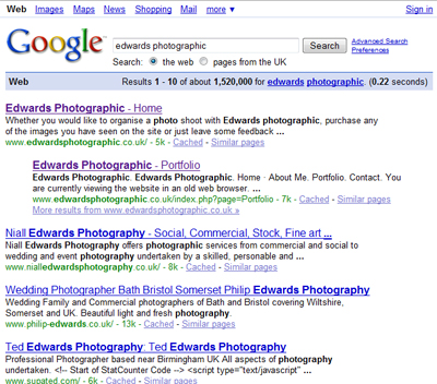 Edwards Photographic top in Google