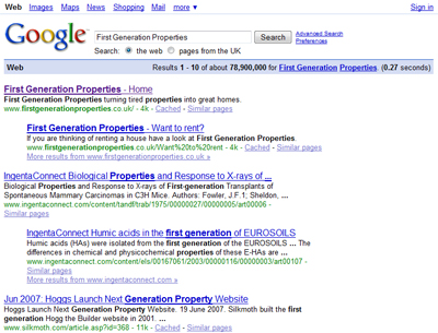 First Generation Properties top in Google